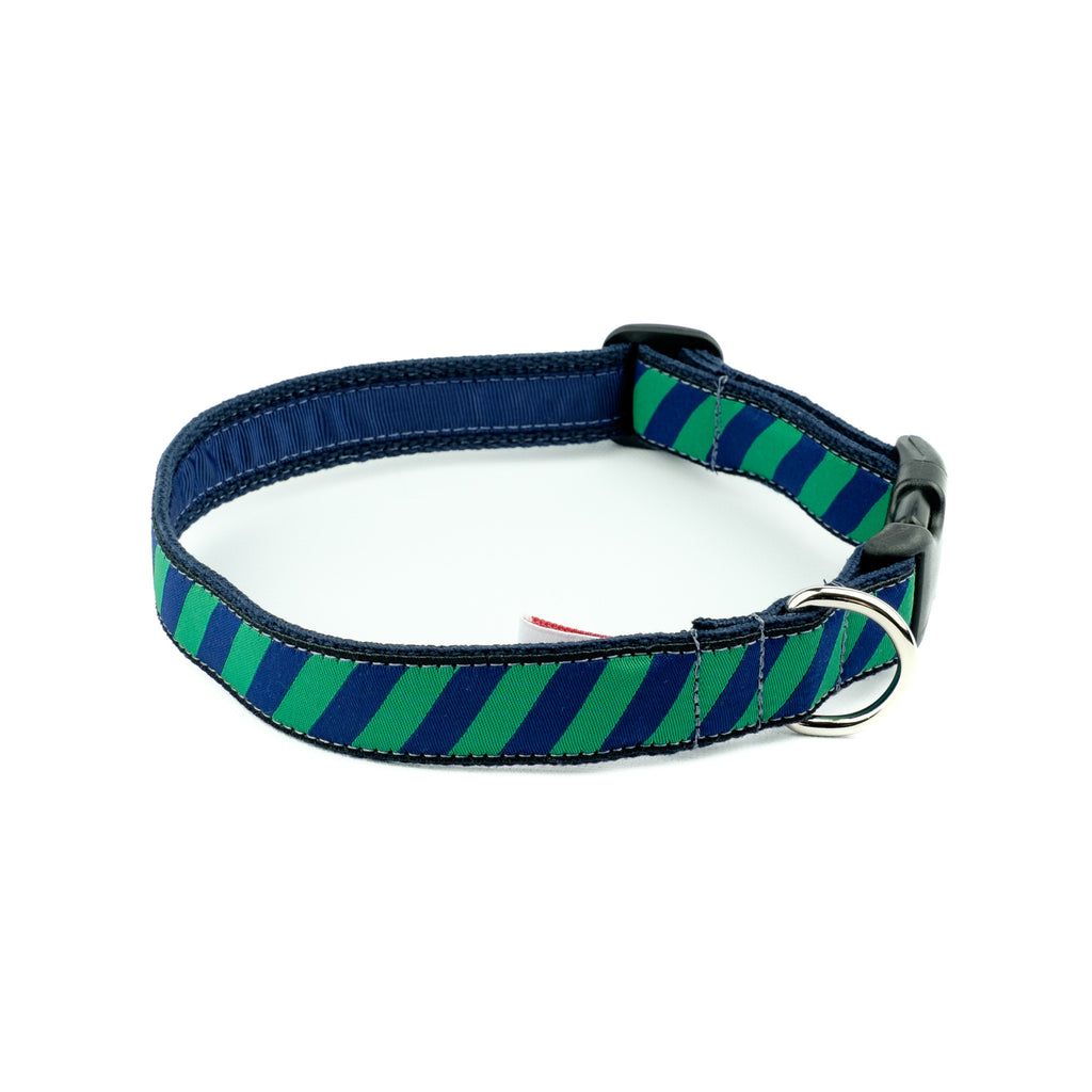 Green Repp Dog Collar - Navy Webbing