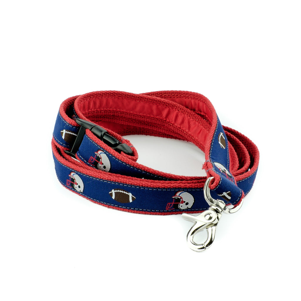 Blue Football Dog Leash - Red Webbing