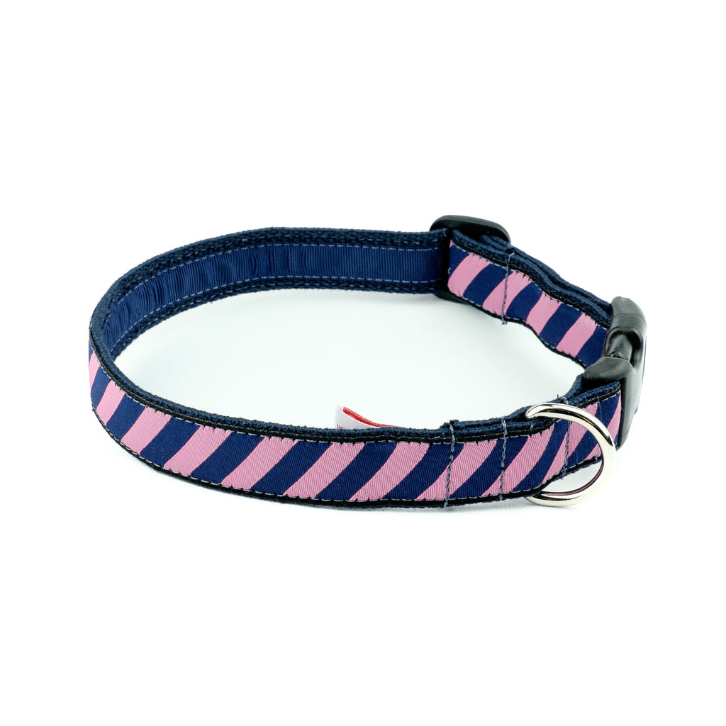 Pink Repp Dog Collar - Navy Webbing