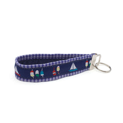 Boats & Buoys Key Fob - Navy Plaid