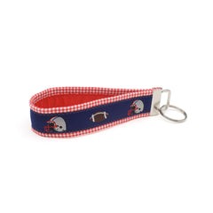 Blue Football Key Fob - Red Gingham