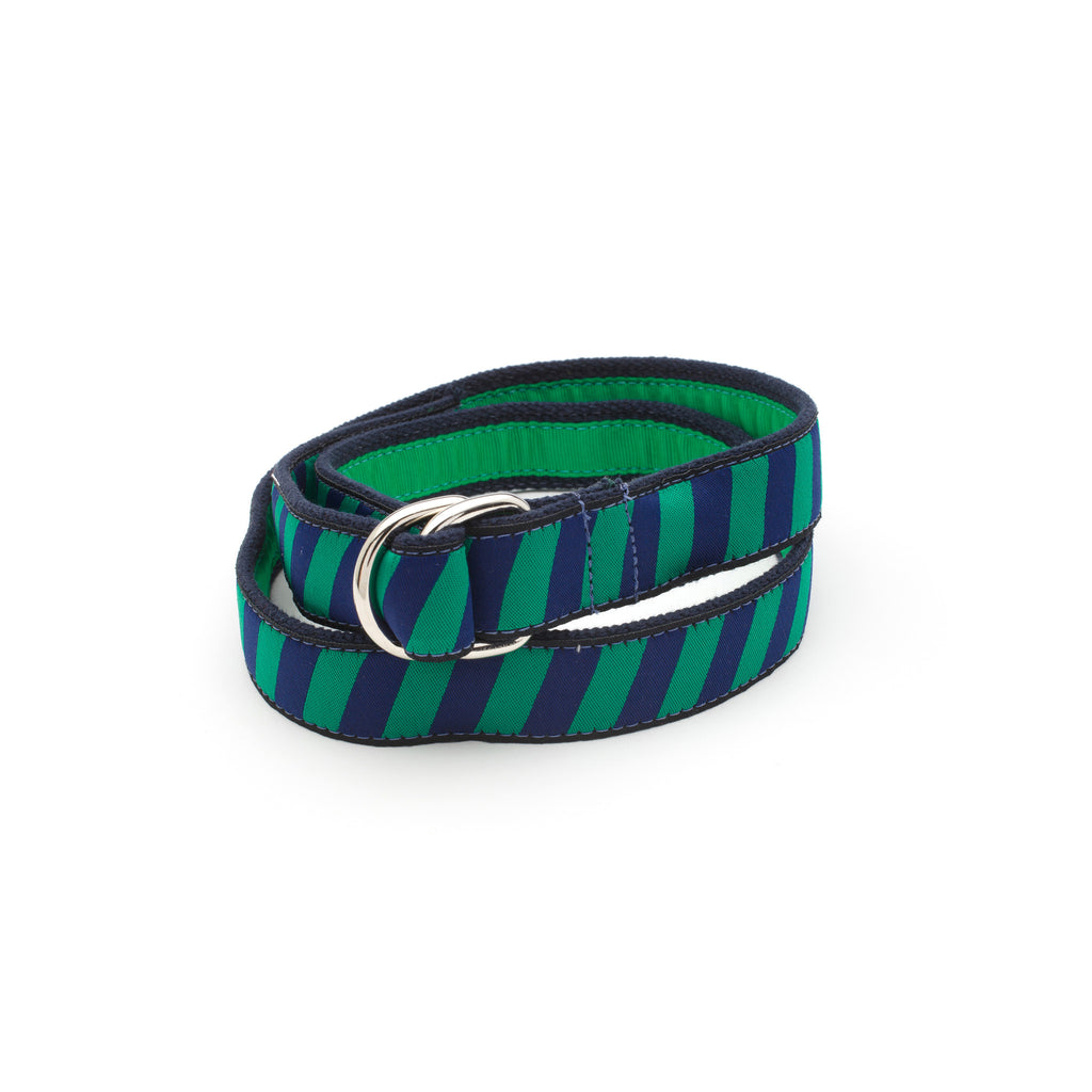 Green Repp Belt - Navy Webbing