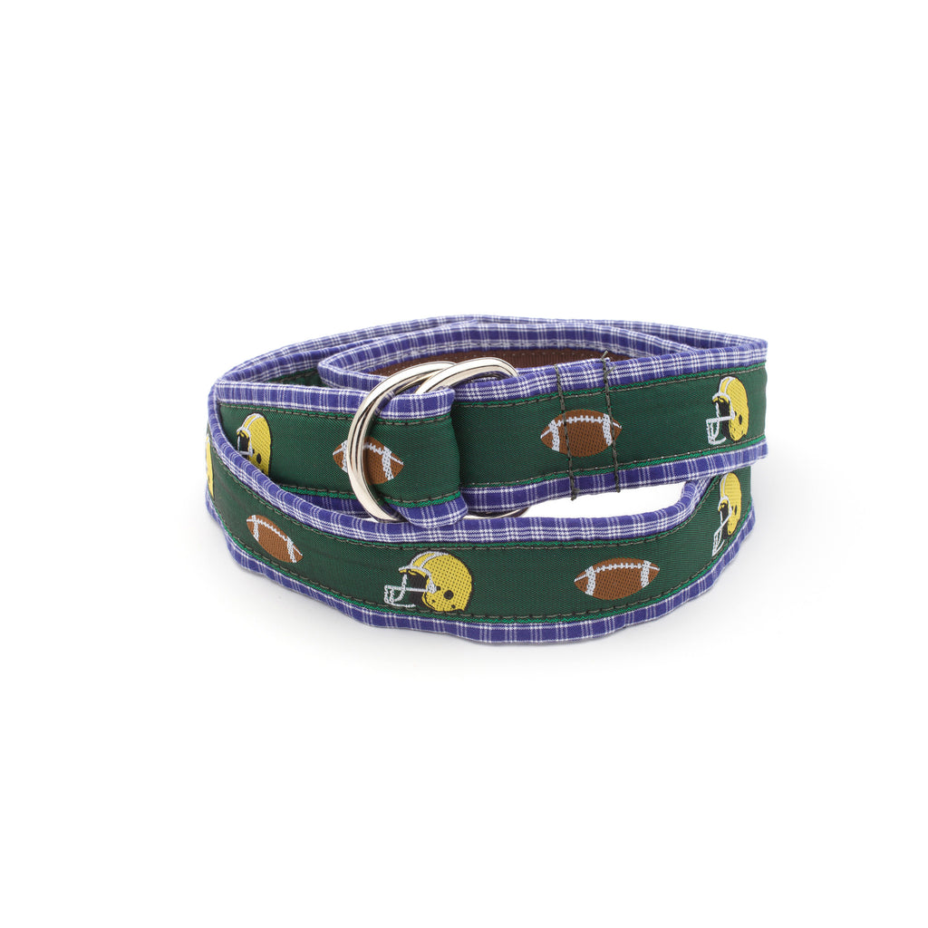 Green Football Belt - Navy Plaid