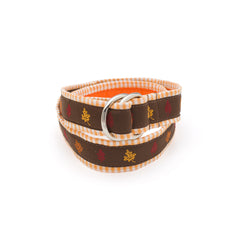 Fall Leaves Belt - Orange Gingham