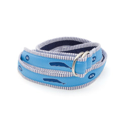 Nantucket Whales Belt - Blue Seersucker