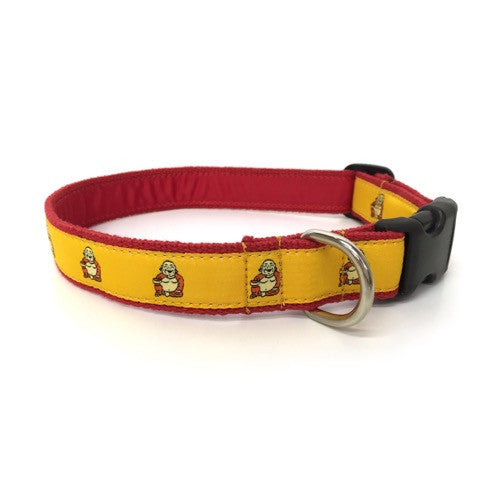 Buddha Dog Collar - Red Webbing