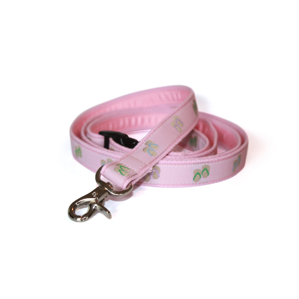 Flip Flops Dog Leash - Pink Webbing