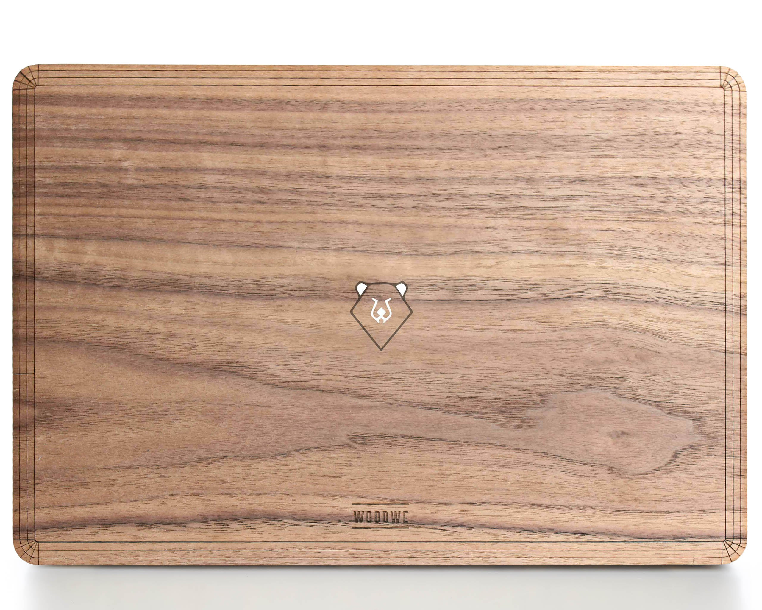 Bear in the Woods - Minimal - Macbook Wood Cover - Walnut