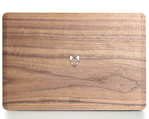 Fox in the Woods - Minimal - Macbook Wood Cover - Walnut