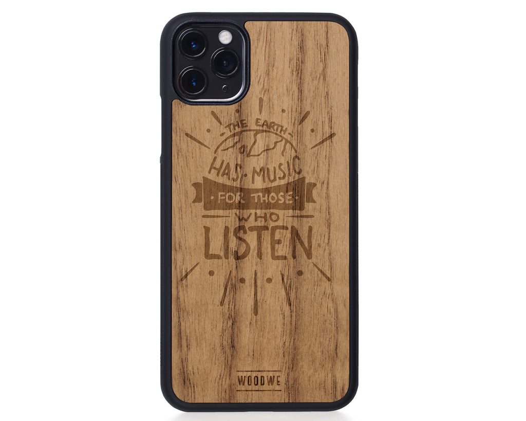IPhone Case - Earth has Music - Walnut Wood