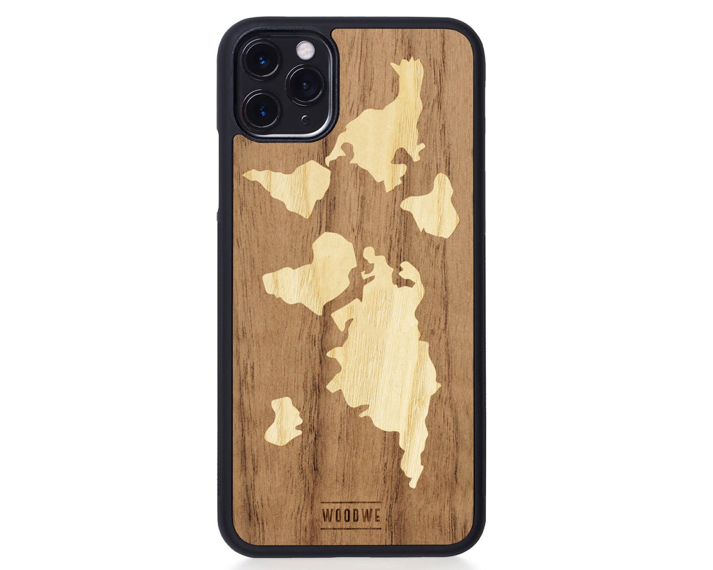 IPhone Case - World Map - Walnut Wood