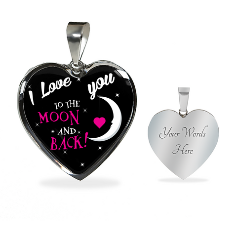 Love you Moon Back-Black -necklace