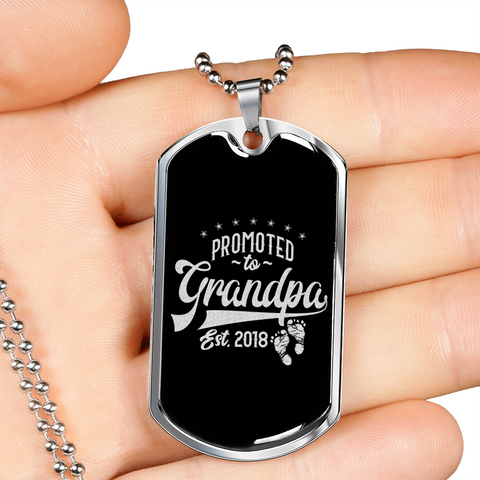 Promoted to grandpa- Premium Dog tag.