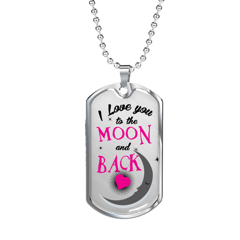 Image of Love You Moon Back -pnk-Lux Dog Tag