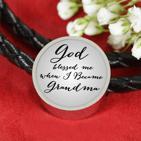 God blessed me when i became Grandma-Leather charm Circle Bracelet