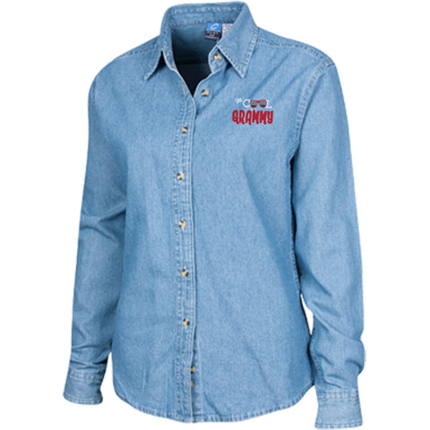 Dress Shirts - [ Customisable ] The Cool Grammy Women's Emb L S Denim Shirt