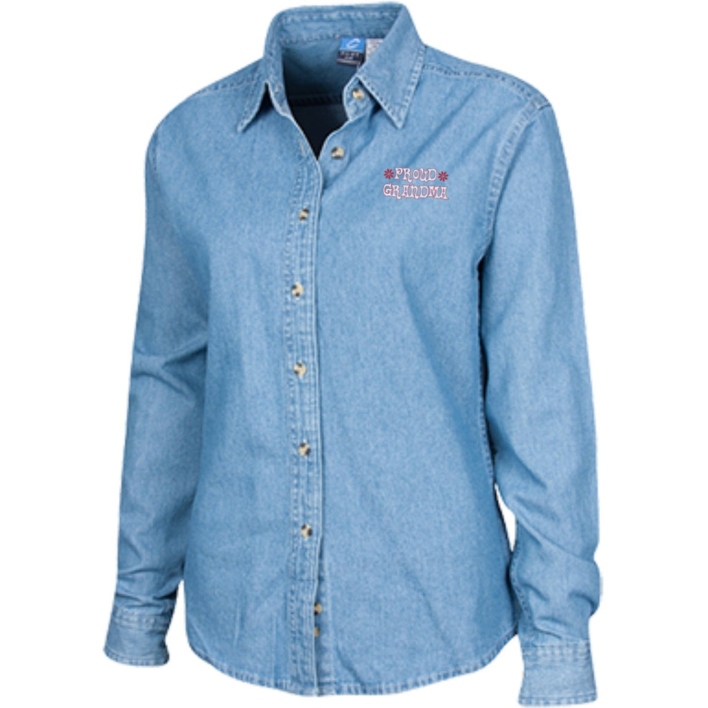 Dress Shirts - Proud Grandma's Custom Embroidered Long Sleeve Denim Shirt