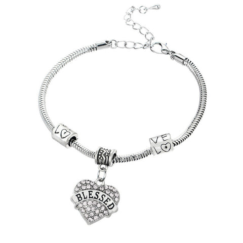 Crystal Heart Bracelet with Beads