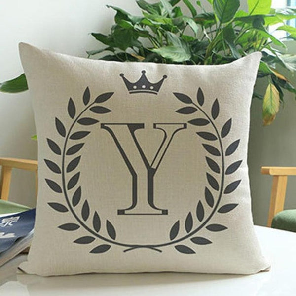 "1Pcs ""Crown Letter"" Throw Pillow"