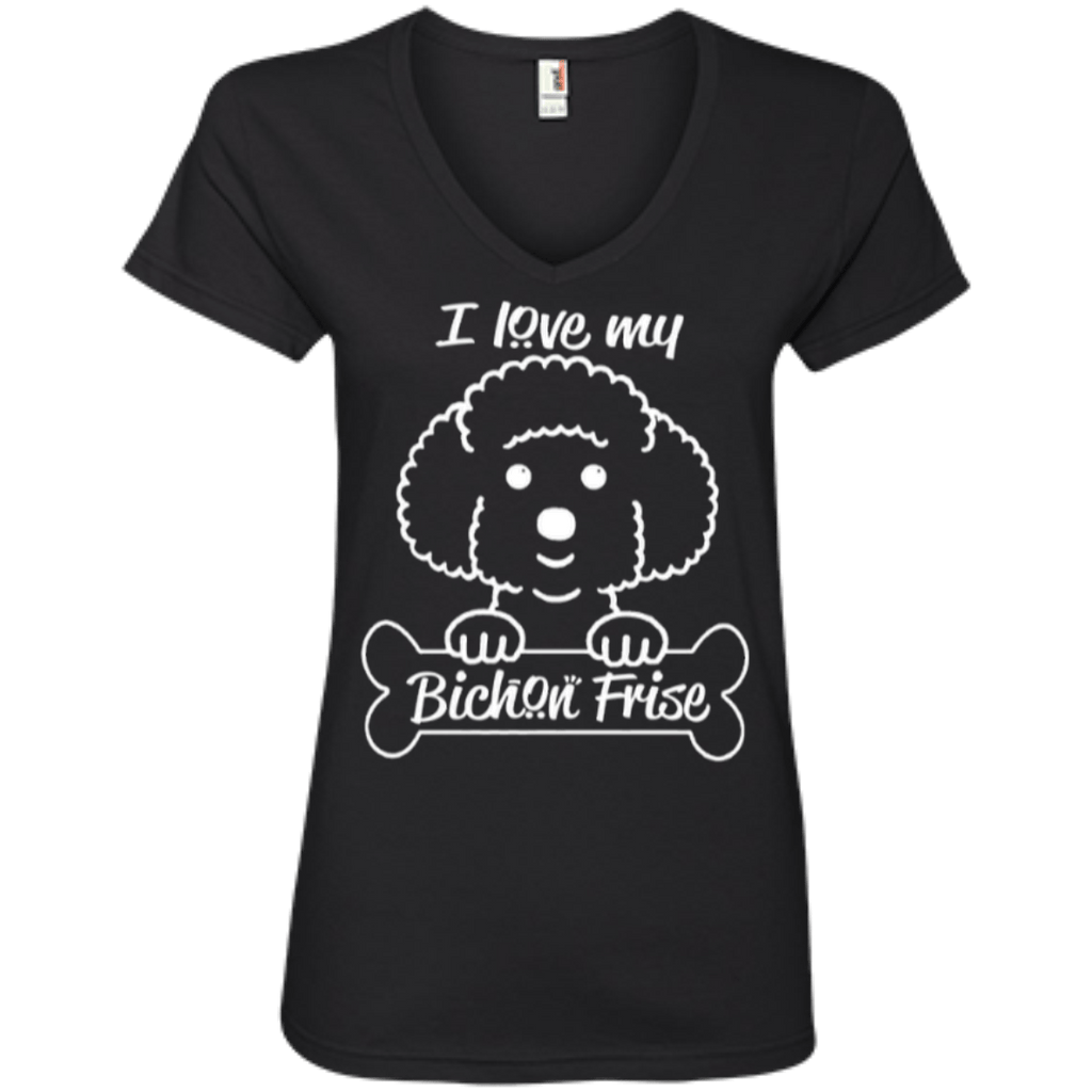 T-Shirts - Bichon Ladies' V-Neck Tee