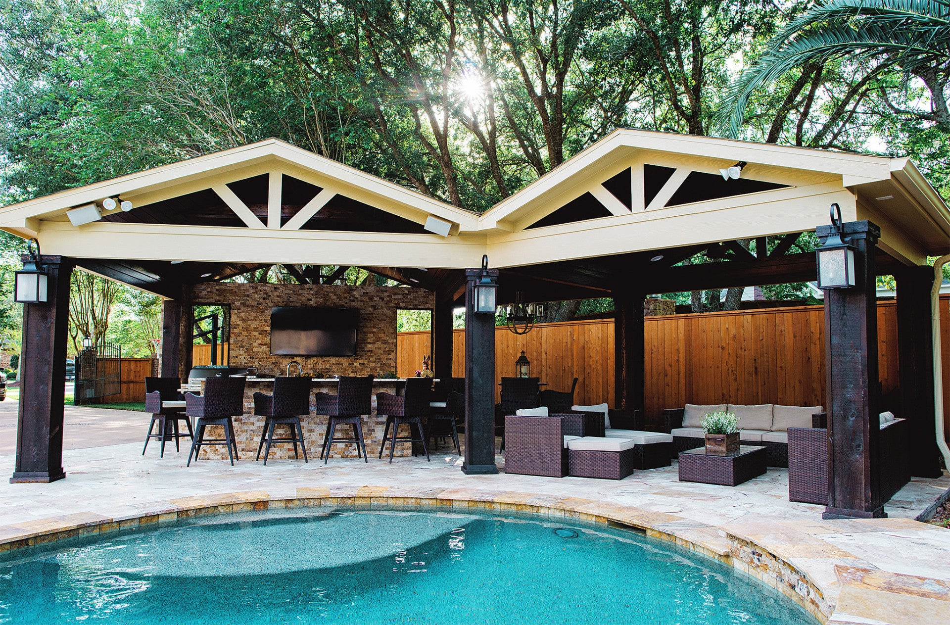 Pool Bathroom Ideas Patio Covers And Cabanas Backyard Retreats