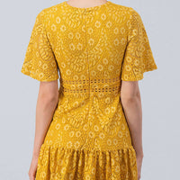 Floral Crochet Lace Dress With Flowy Hem And Cinched Waist