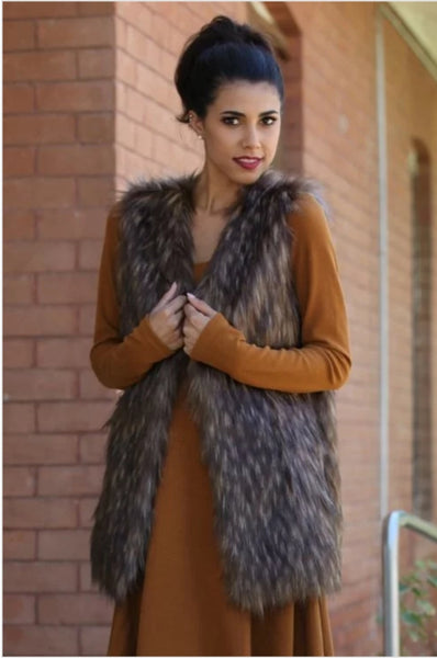 Multi Tone Faux Fur Vest