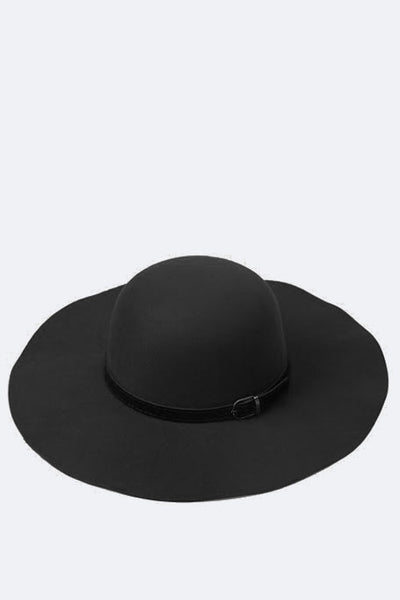 Buckled Faux Leatherband Felt Floppy Hat