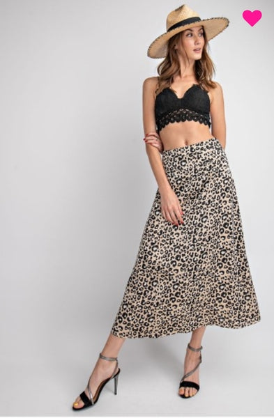 SATIN LEOPARD MIDI SKIRT
