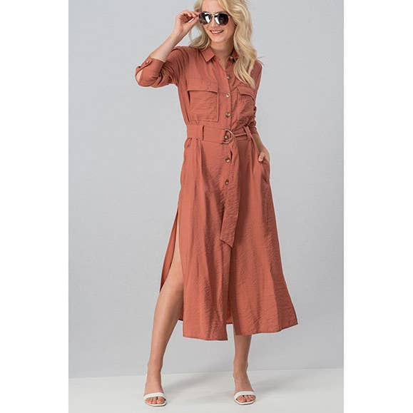 BELTED BUTTON SHIRT DRESS WITH SIDE SLIT