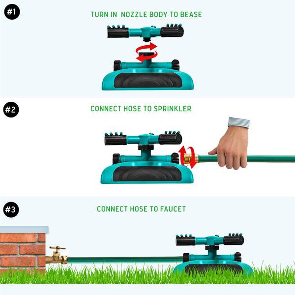 Garden Sprinkler, 360° Rotating Lawn Sprinkler with a large area of Coverage Adjustable, Weighted Gardening Watering System