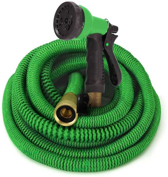 GrowGreen Expandable Garden Hose With Spray Nozzle. Flexible Hose with All Brass Connectors, Leak Proof, Durable, Heavy Duty Material {4 sizes}