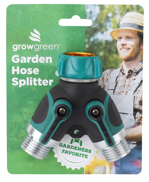 GrowGreen® Garden Hose Splitter, 2 Way Y Valve Garden Hose Connector - Heavy Duty - Durable Garden Hose y Splitter