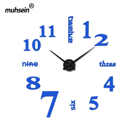 2017 new arrival quartz diy modern clocks needle acrylic watches big wall clock mirror sticker living room decor free shipping