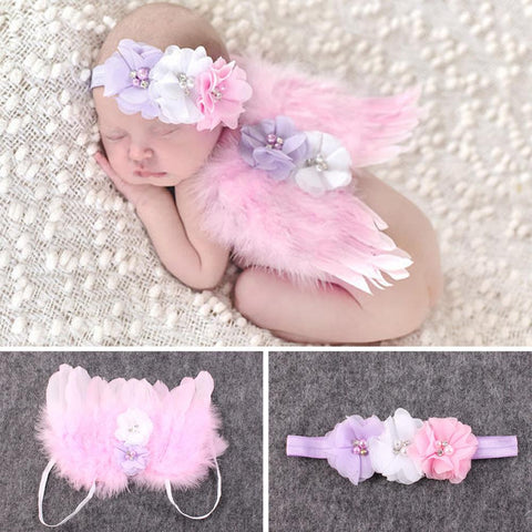 0 to 6 Months Cute Baby Feather Wings Headband Set Girls Angel Wings Set Feather Newborn Photography Props Pink Red
