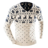 2017 Autumn Winter Pullover Men Christmas  Sweater Jumper V Neck Deer Pattern Slim Fit Knitted Christmas Sweaters Knitwear