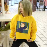2016 Winter Yellow Halajuku Cartoon Printed Letter Embroidered Velvet Thick Female Sweatshirts With A Hood