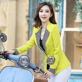 2016 Ladies Plaid blazer coat Feminino Plus Size Formal Jacket Women's White Blaser Rosa Female Blue Women Suit Office Ladies