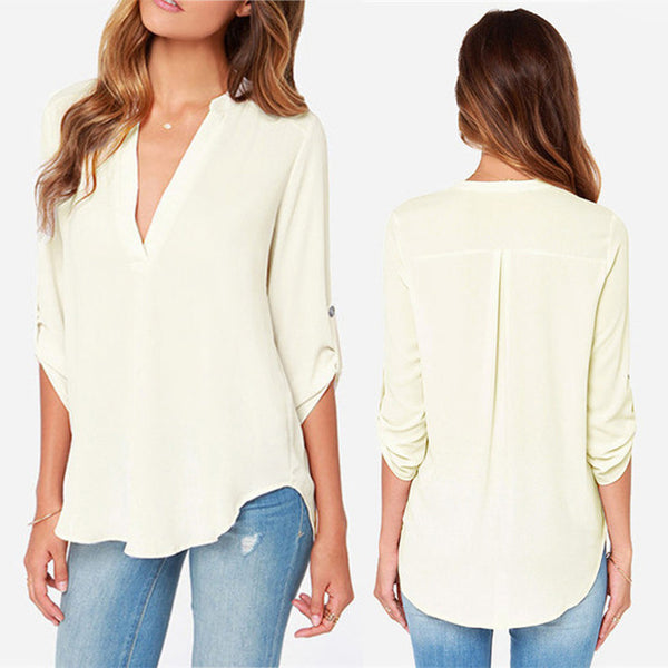 Summer Style womens chiffon blouse ladies White elegant sexy v-neck blouses 3/4 sleeve shirt female office shirt plus size 2016