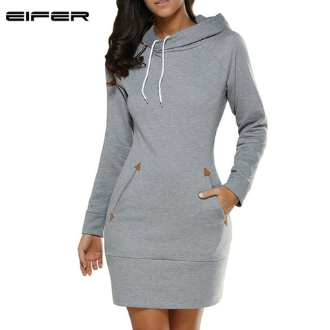 EIFER 2017 Warm Winter High Quality Hooded Dresses Pocket Long Sleeved Casual Mini Dress Sportwear Women Clothings