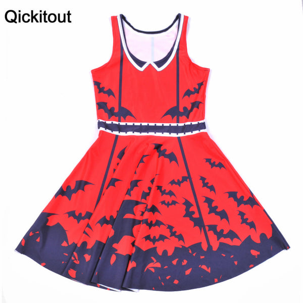 Qickitout Dress Fashion 2016 Fashion New Women Dress Digital Print Scarlet Black Bat Dresses Sleeveless Beach DRESS vestidos