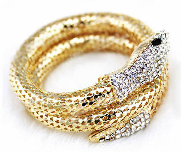 2016 New Arrival Vintage Punk Rhinestone Curved Stretch Cuff Bracelets & Bangles Retro Snake Bracelet For Women Classic Jewelry