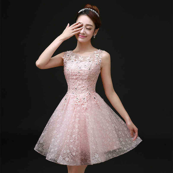 Sweet Cocktail Dresses 2017 New SSYFashion Bride Married  Banquet Pink Lace Short Prom Dress Plus Size Party Formal Dresses
