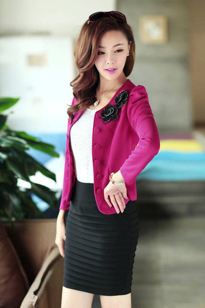 2016 Office Women Blazer Out Wear Appliques Back Bow Short Blazers Suit LadiesWork Style  Black Pink Rose White Suits