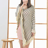 Women Poncho Sweaters Autumn Tricot Wave Striped Capes Oversized  Knitted Batwing Sleeve Ruffles Shawl Hnitted Sweater Sueter