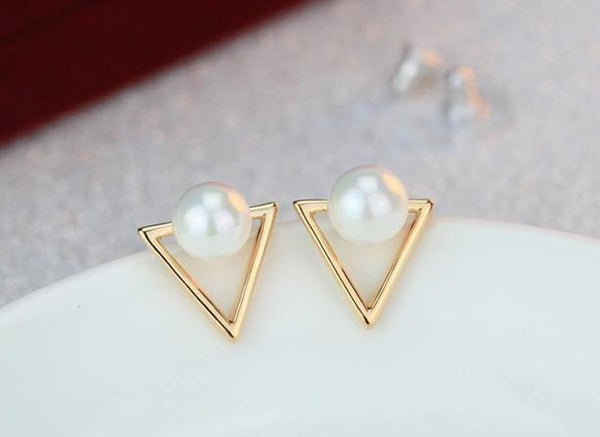 2017 Girl Simple Studs Earings Fashion Jewelry Triangle Pearl Earrings Brincos For Women Gold Perle Boucles D'oreilles Femmes