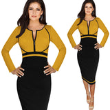 Oxiuly Womens Elegant Colorblock Front Zipper Full Sleeve Wear to Work Business Casual Office Party Sheath Pencil Bodycon Dress