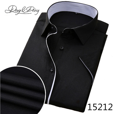 5fb8fd3a7a4 ... DAVYDAISY High Quality Social Shirt Men Business Slim Fit Short Sleeve  Solid Twill Dress Shirts Men