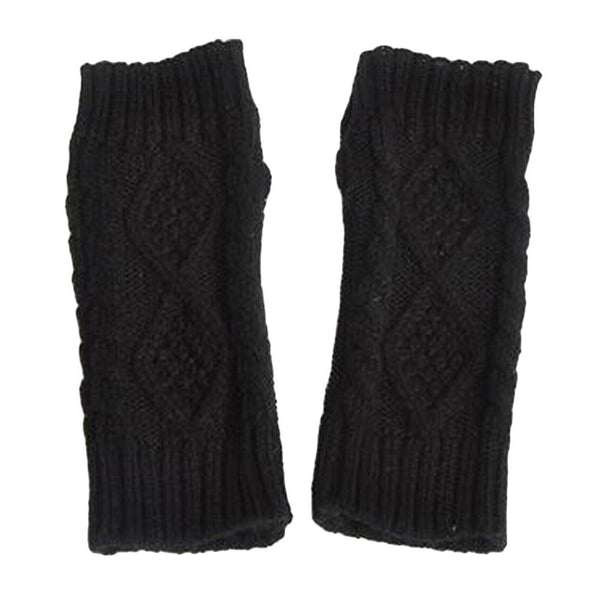 1pair Warm Winter Gloves Women Diamond Hemp Knitting Wool Half-finger Gloves Ladies' Gloves Semi-Fing RVer Loves Gloves