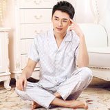 2017 New Brand Mens Satin Pajama Summer Short Sleeve China Silk Sleepwear Nighties Male Quality Plus Size Silk Pijama Nightwear
